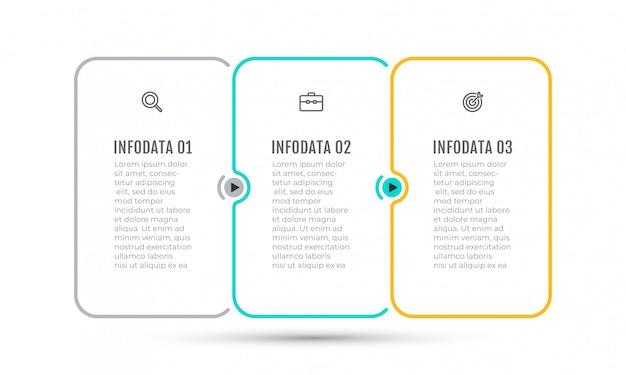 Diseño de línea fina de infografía empresarial con iconos de marketing y 3 opciones, pasos, etiquetas.