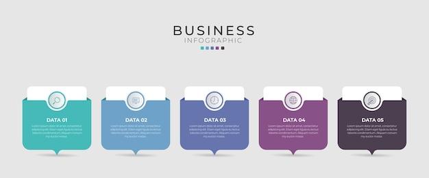Diseño de línea fina de infografía vectorial con iconos y 5 opciones o pasos.