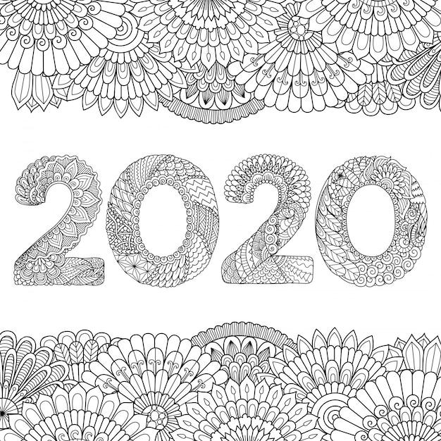 Diseño de línea de flores en forma de 2020, feliz año nuevo 2020