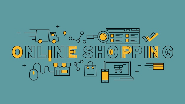 Diseño de línea plana de compras en línea