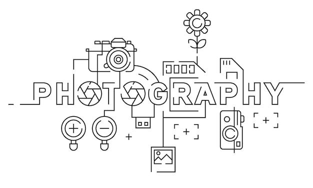 Diseño de línea plana de fotografía