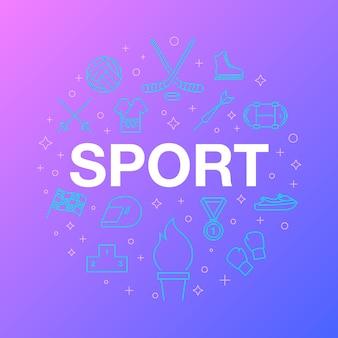 Diseño de línea plana de iconos de deporte.