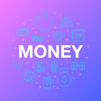 Diseño de línea plana de iconos de dinero.