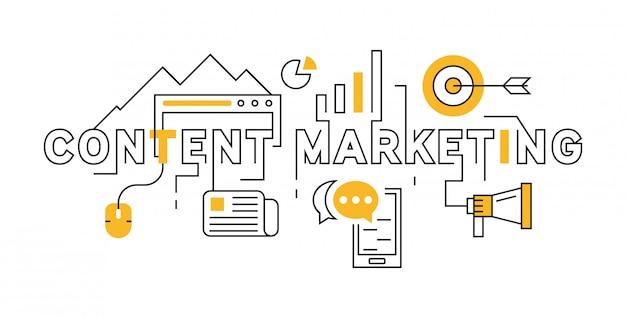 Diseño de línea plana de marketing de contenido en naranja