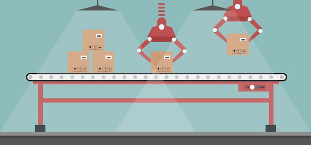 Diseño de línea de producción automatizada con brazos robóticos. rodillos transportadores automatizados