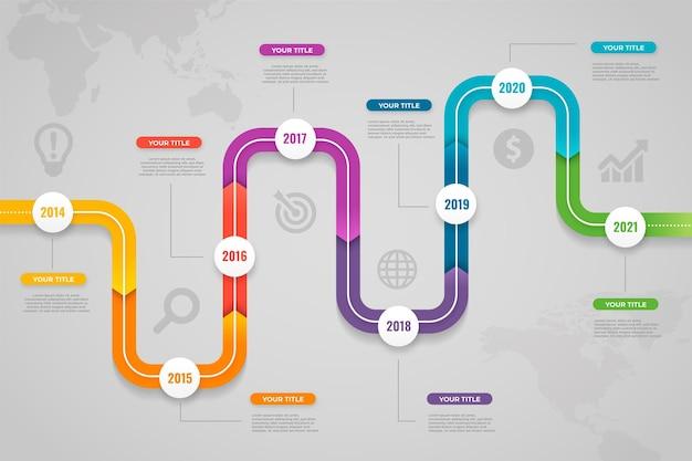 Diseño de línea de tiempo de infografía degradado