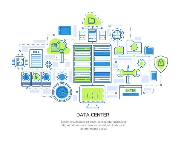 Diseño lineal del centro de datos que incluye infraestructura de servidor y seguridad de la información, almacenamiento en la nube y sistema de microchip