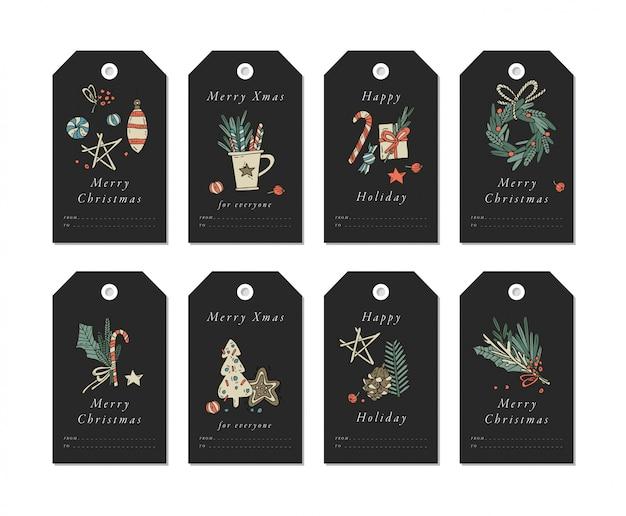 Diseño lineal dorado elementos de saludos de navidad sobre fondo blanco. etiquetas de navidad con tipografía y colorido icono.