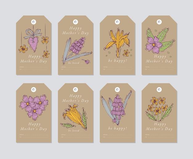 Diseño lineal para elementos de saludos del día de la madre sobre fondo de papel artesanal