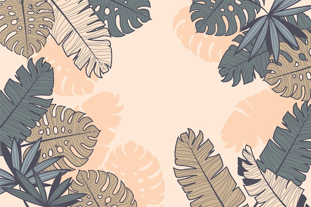 Diseño lineal de hojas tropicales