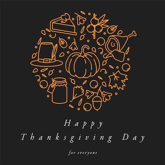 Diseño lineal tarjeta de felicitación del día de acción de gracias. tipografía e icono para fondo de vacaciones de otoño, pancartas o carteles y otros imprimibles.