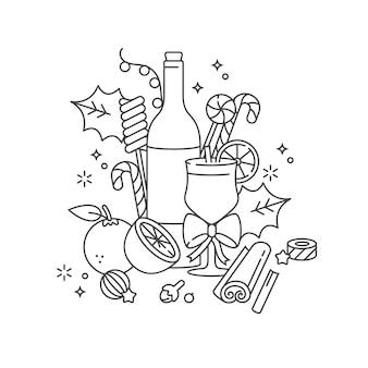 Diseño lineal para tarjeta de felicitaciones de navidad.