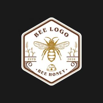Diseño de logo de abeja vintage