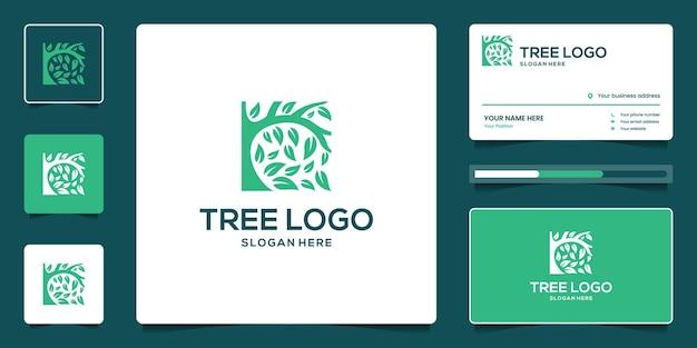 Diseño de logo de árbol de la vida con tarjeta de visita.