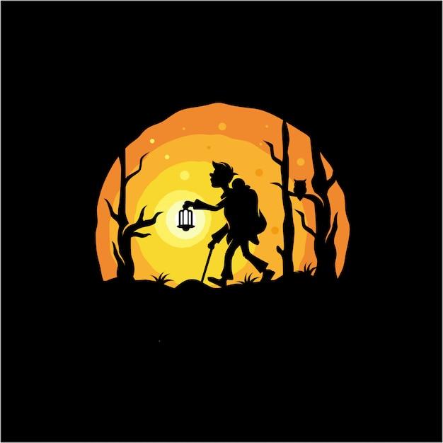 Diseño de logo de aventura nocturna.