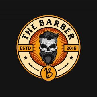 Diseño de logo de barba de calavera