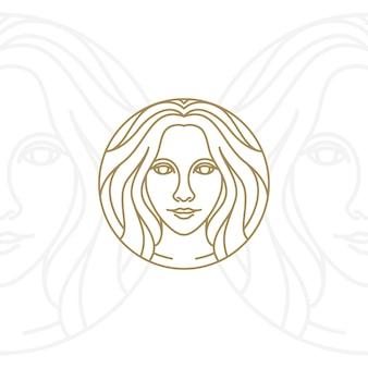 Diseño de logo de belleza artística mujer