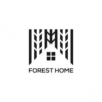 Diseño de logo de bosque en casa