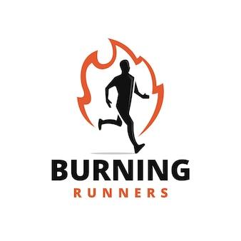 Diseño de logo de burning runner
