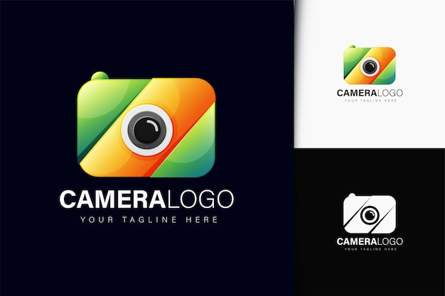 Diseño de logo de cámara con degradado.