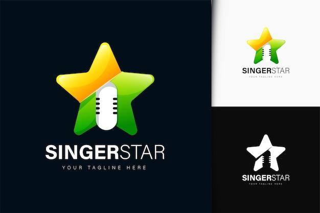 Diseño de logo de cantante estrella con degradado.