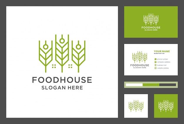 Diseño de logo de casa de comida con tarjeta de visita.