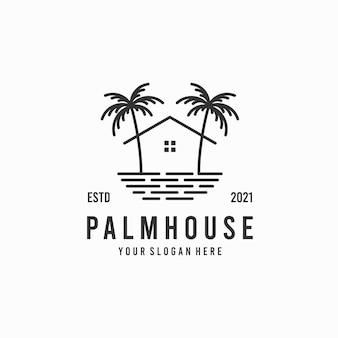 Diseño de logo de casa de palmeras