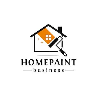 Diseño de logo de casa de pintura