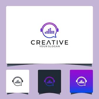 Diseño de logo de chat de música