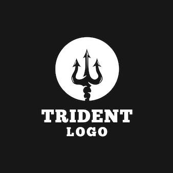Diseño de logo circular tridente.