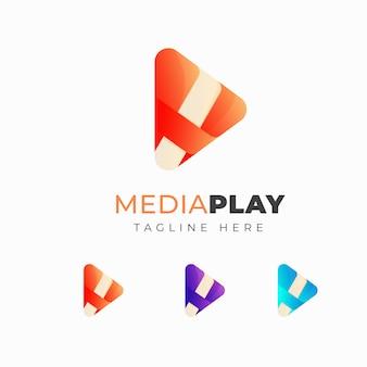 Diseño de logo colorido de media play