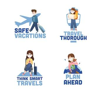 Diseño de logo con concepto de prevención covid-19 para branding y marketing.