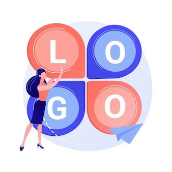 Diseño de logo. creación de eslogan de empresa, marca corporativa, identidad. carácter plano del diseñador gráfico que investiga el ejemplo competitivo del concepto de la idea del logotipo