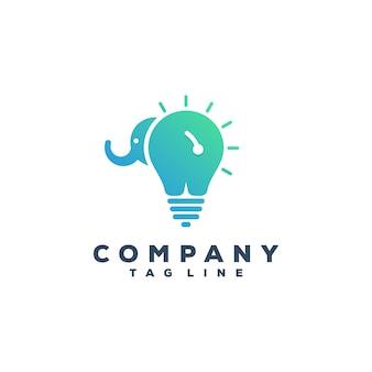 Diseño de logo de elefante y bombilla
