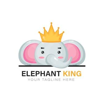 Diseño de logo de elefante rey