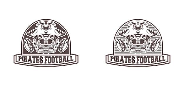 Diseño de logo de fútbol americano pirata con estilo retro