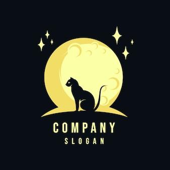 Diseño de logo de gato y luna.