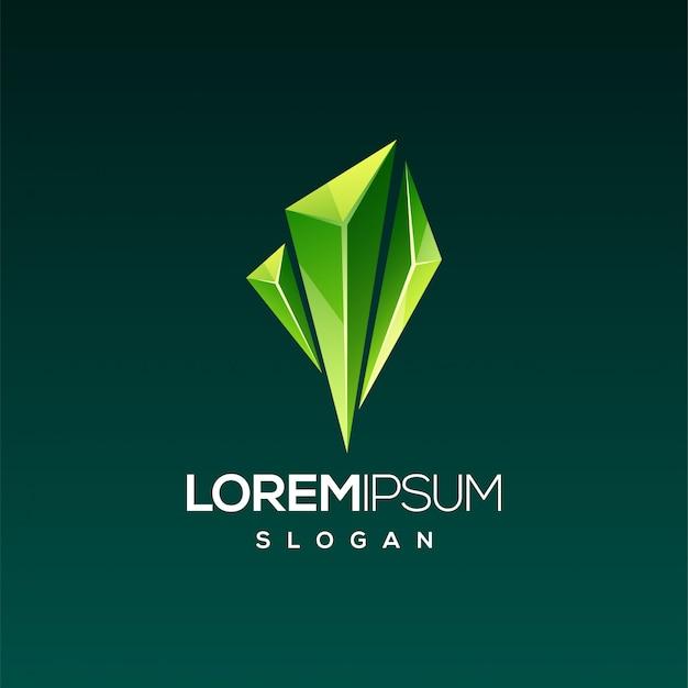 Diseño de logo de gema esmeralda