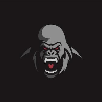 Diseño de logo de gorila enojado
