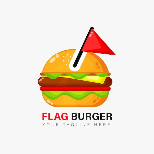 Diseño de logo de hamburguesa con bandera