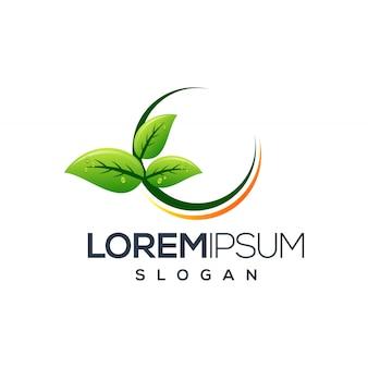 Diseño de logo de hoja circular.