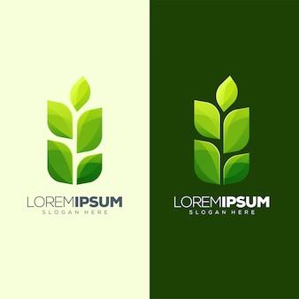 Diseño de logo de hoja listo para usar.