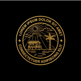 Diseño de logo de line art beach.