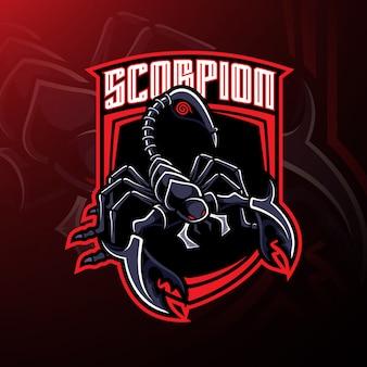 Diseño del logo de la mascota del deporte del escorpión