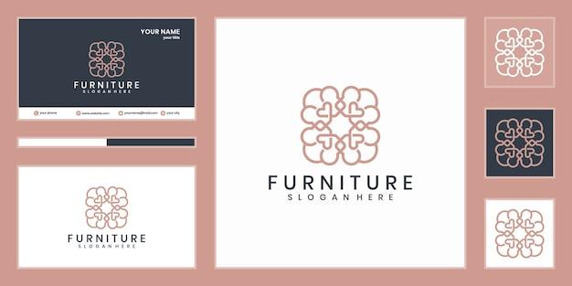 Diseño de logo de muebles. línea de diseño de interiores de lujo
