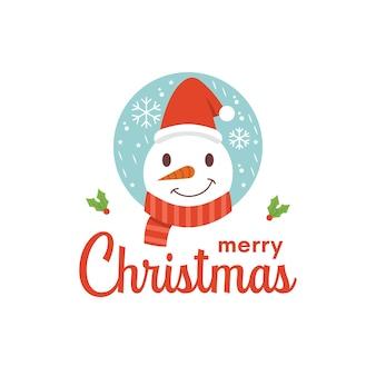 Diseño de logo de navidad de hombre de hielo