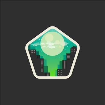 Diseño de logo de noche de ciudad