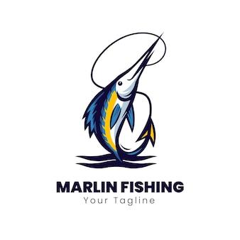 Diseño de logo de pesca de aguja azul