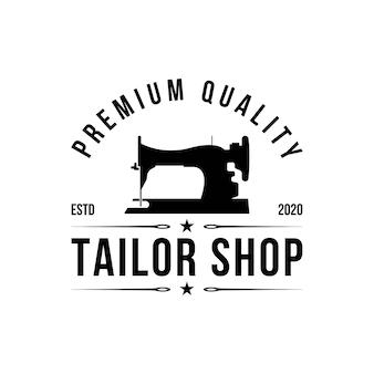 Diseño de logo de sastre. icono de la máquina de coser. emblema textil. etiqueta de ropa.