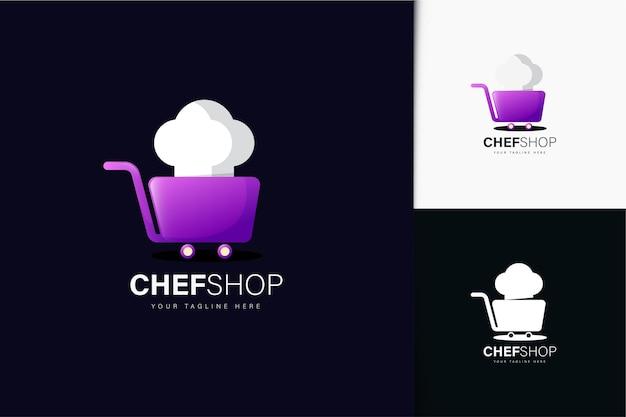 Diseño de logo de tienda de chef con degradado.
